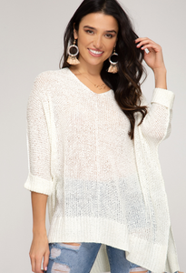 Hi Lo Knit Sweater 3/4 Sleeve - Off White