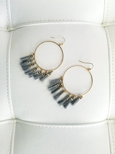 Grey Tassel Hoop Earrings