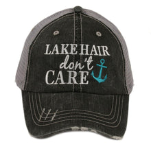 Load image into Gallery viewer, Lake Hair Don't Care Trucker Hat - Grey