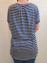 Load image into Gallery viewer, Navy and White Striped Short Sleeve Top