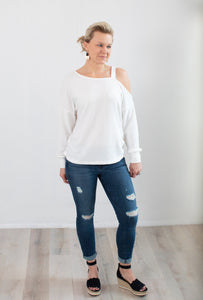 Open Shoulder Knit Top in White - 1 Large Left!