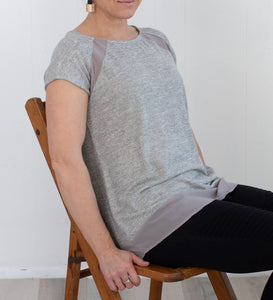 Sleeveless Metallic Grey Knit Top with Sheer Panels
