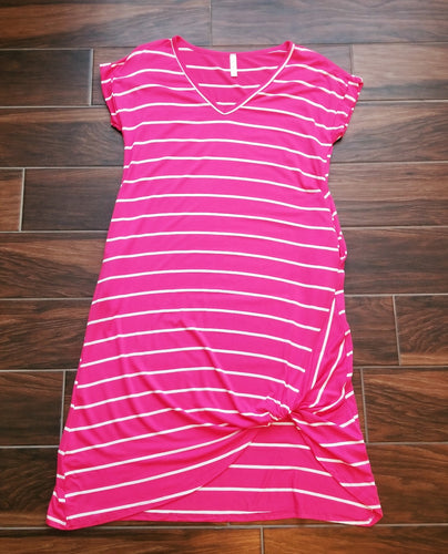 Striped Pink and White Midi-Dress with Pockets - 1 Medium Left!
