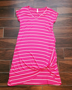 Striped Pink and White Midi-Dress with Pockets