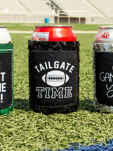 Tailgate Time Black Sequins Can Cooler