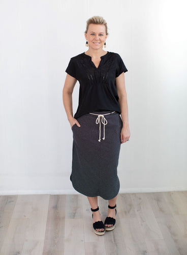 Black and White Stripe A-Line Mid-Length Skirt
