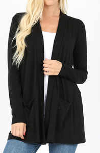 Black Lightweight Cardigan - Curvy