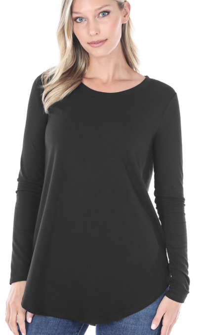 The Best Long Sleeve Curvy Top - Black