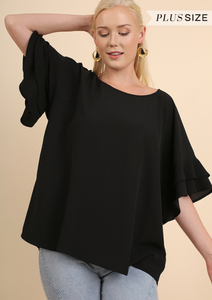 The Sleeves Say it All Curvy Top - Black