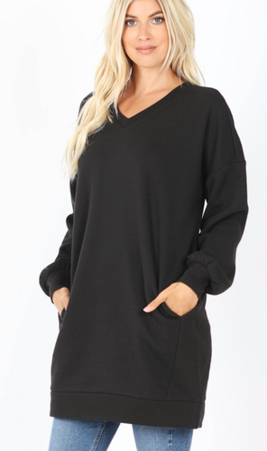 Sweatshirt Dress with Pockets - Black