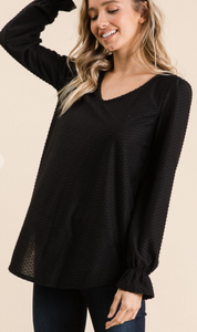 Swiss Dot V-Neck Top - Black