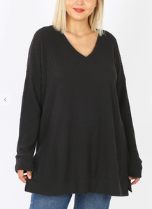 Waffle V-Neck Long Sleeve Top - Curvy