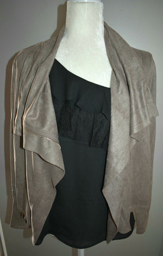 Faux-Suede Zip-up Moto Jacket - Mocha