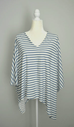 Navy and White Double Edge V-Neck Top