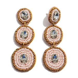 Blush Rhinestone Beaded Earrings