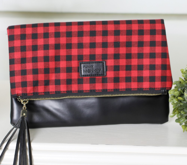 Red Buffalo Plaid Foldover Clutch