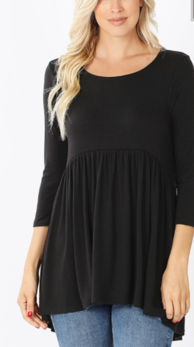 Curvy 3/4 Sleeve Top - Black