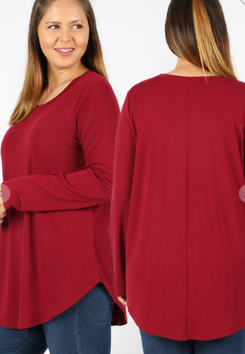 The Best Long Sleeve Curvy Top - Cabernet