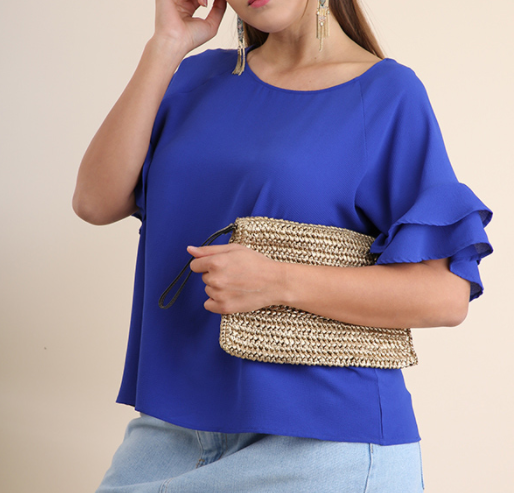 The Sleeves Say it All Curvy Top - Cobalt