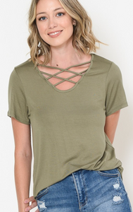 Criss-Cross Short Sleeve Top - Olive