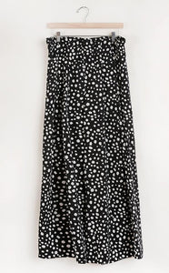 Dalmation Print Wide-Leg Pants with Pockets