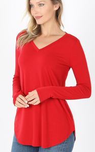 V-Neck Long Sleeve Top - Dark Red