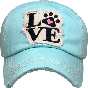 Love My Dog Distressed Hat