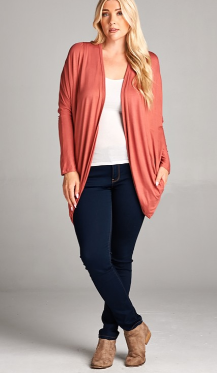 Marsala Cardigan with Pockets - Curvy