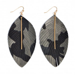 Grey Camo Print Earrings