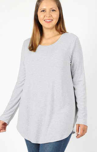 The Best Long Sleeve Curvy Top - Heather Grey