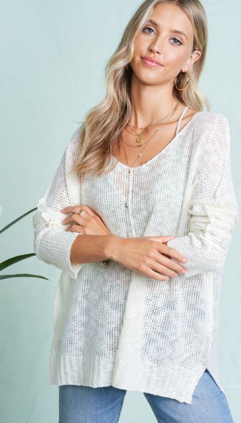 Ivory Knit Lightweight Top
