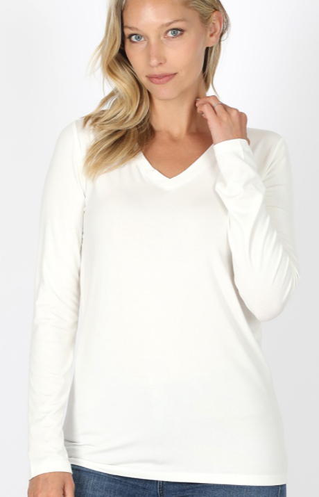 V-Neck Long Sleeve Top - Ivory