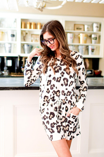 Long Sleeve Leopard Lounge Set - Top