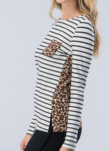 Black and White Stripes Leopard Long Sleeve Top - 1 Small Left!