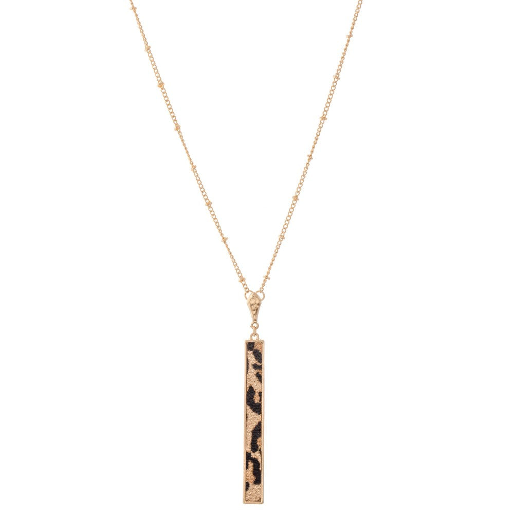 Long Leopard Bar Necklace