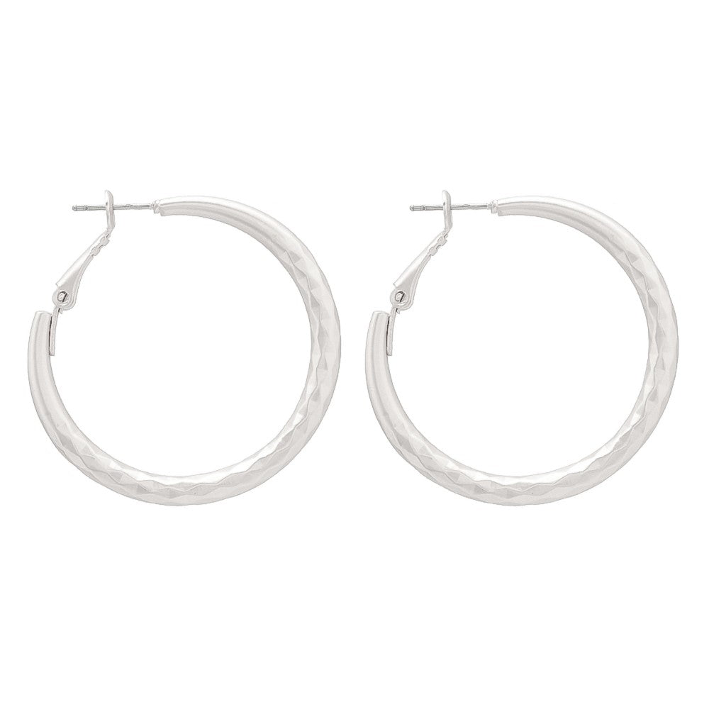 Matte Silver Hammered Hoop Earrings