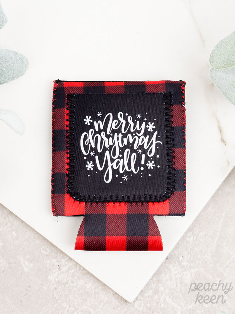 Merry Christmas Y'all Buffalo Plaid Sequins Can Cooler