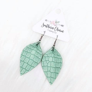 Mint Petal Leather Earrings