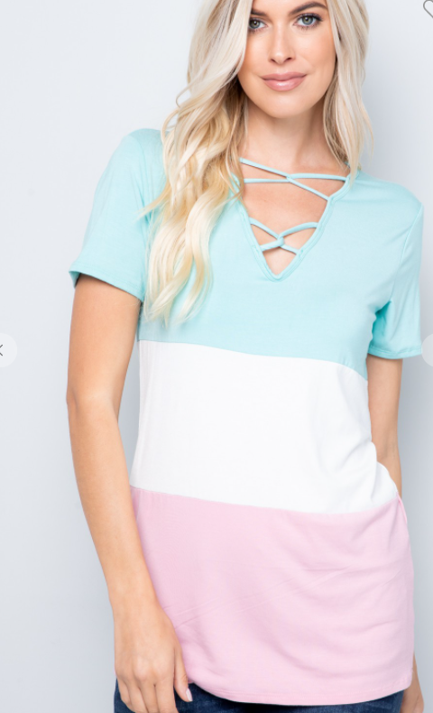 Blush Mint Colorblock Top