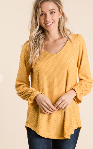 Swiss Dot V-Neck Top -  Mustard