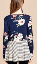 Load image into Gallery viewer, Navy & Stripes Floral Top
