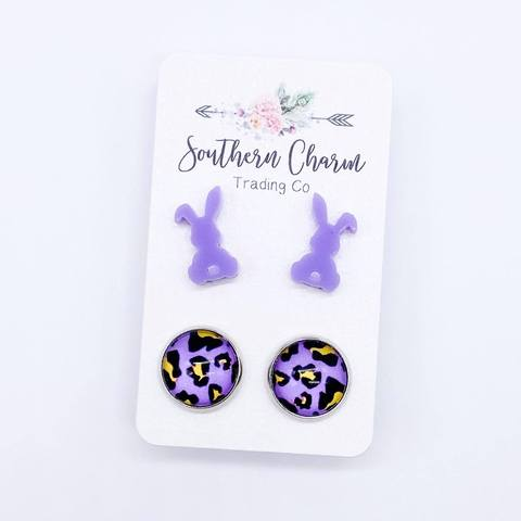 Bunny & Leopard Stud Earring Duo - Purple