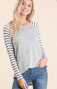 Heather Grey Top with Black & White Sleeves - Regular & Curvy