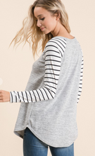 Load image into Gallery viewer, Heather Grey Top with Black & White Sleeves - Regular & Curvy