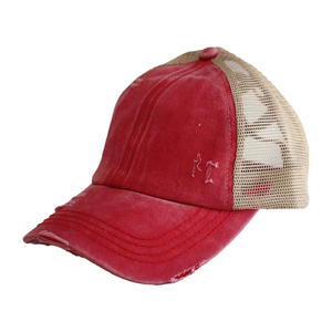 Red Criss Cross CC Hat