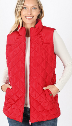 Ruby Red Quilted Vest