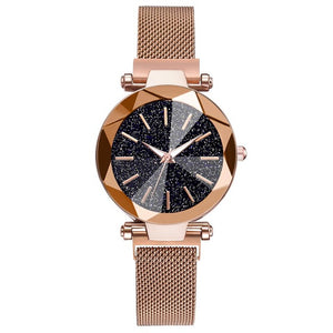 Luxury Starry Sky Stainless Steel Mesh Watches Crystal Analog Quartz