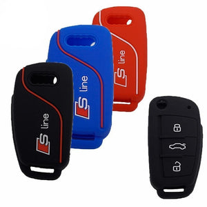Stylish Silicon Key Cover For Audi Flip Key (Full Protection)