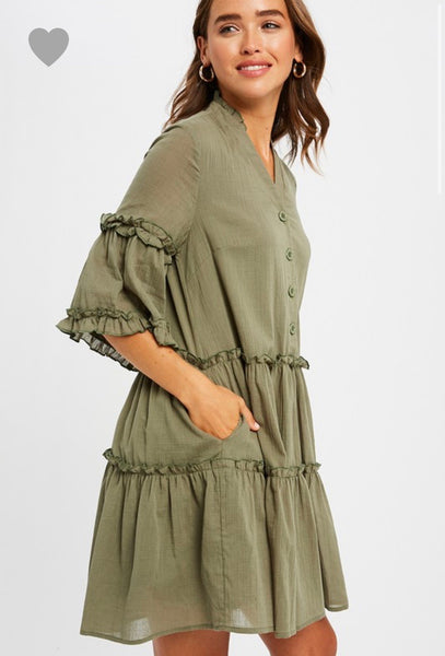 Olive Button Down Dress