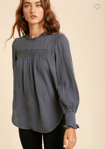 Charcoal Teal Mock Neck Top